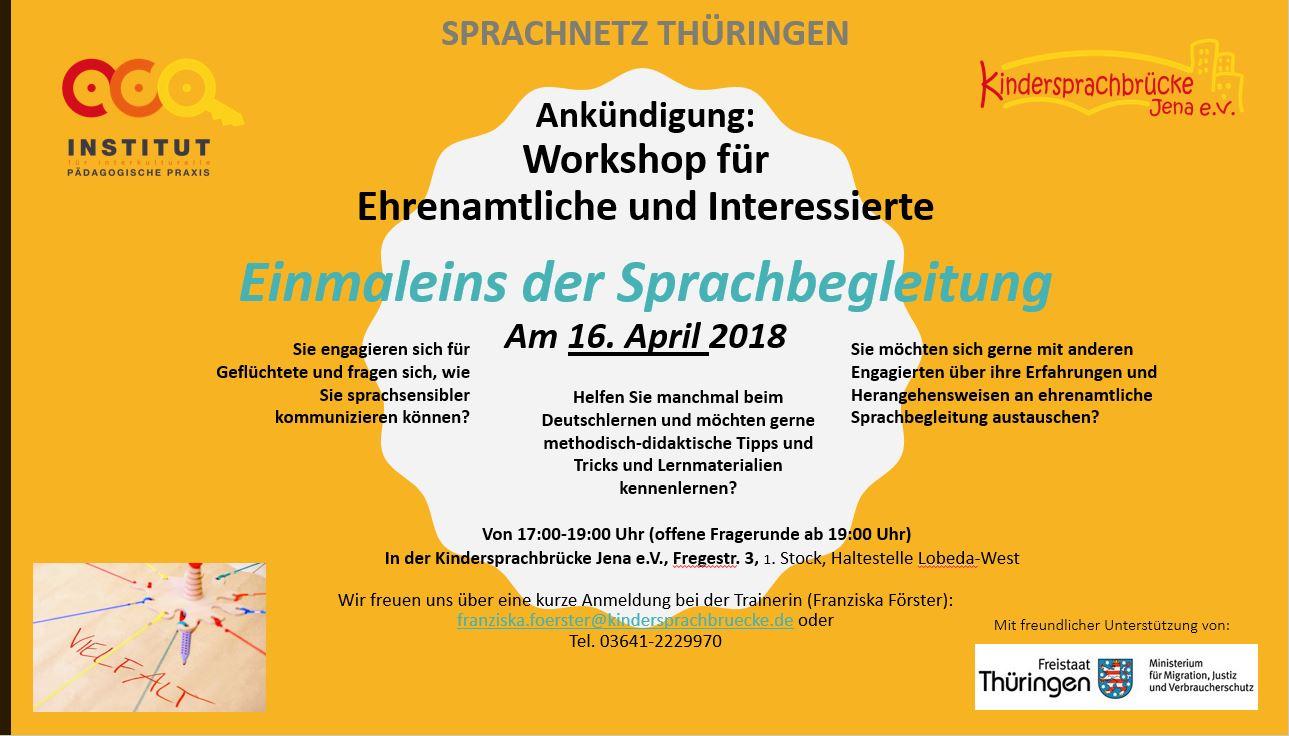 Flyer zum Workshop Einmaleins der Sprachbegleitung